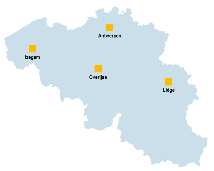 Map of Eneria network locations in Belgium